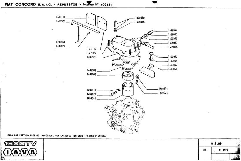 Ajuste de Motor: Despiece Carburador Solex 34-34 Continuo